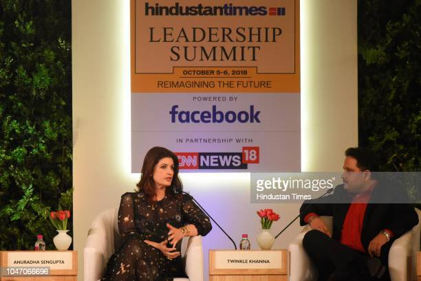 Twinkle Khanna actor author columnist and film producer with author Amish Tripathi during a first day of Hindustan Times Leadership Summit 2018 at...