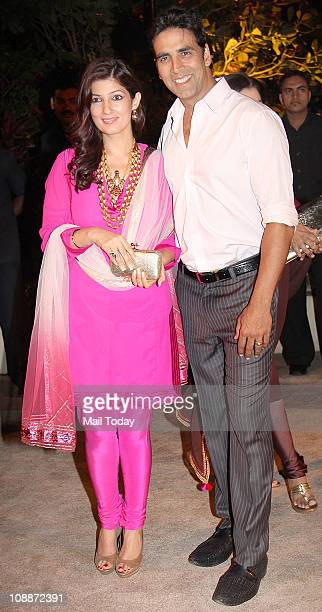 Twinkle Khanna and Akshay Kumar at Imran Khan and Avantika Malik's wedding reception party which was organised by Aamir Khan and Kiran Rao at Taj...