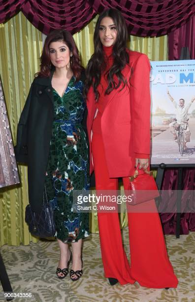 Twinkle Khanna and Sonam Kapoor attend a photocall for 'Pad Man' at The Bentley Hotel on January 18 2018 in London England