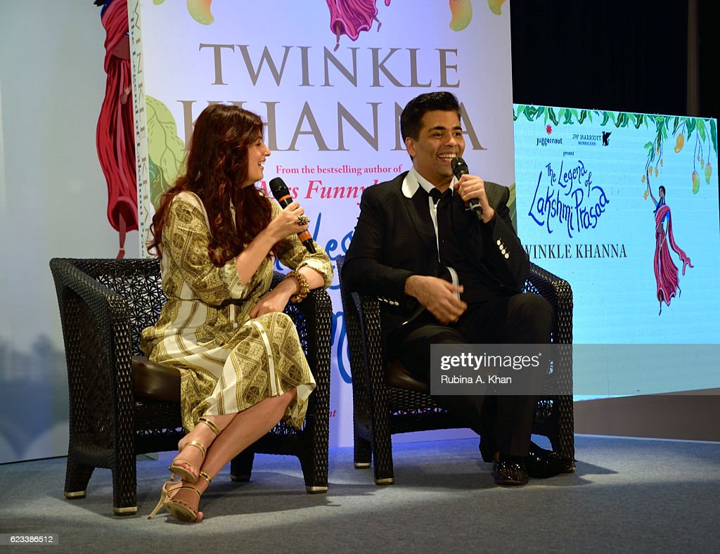 Twinkle Khanna in conversation with Karan Johar at the launch of her second book The Legend of Lakshmi Prasad published by Juggernaut Books at the JW.