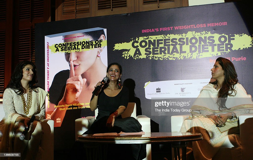 Twinkle Khanna Kalli Purie and Dimple Kapadia answer questions from the audience at the launch of Kalli Purie`s book Confessions of a Serial Dieter...