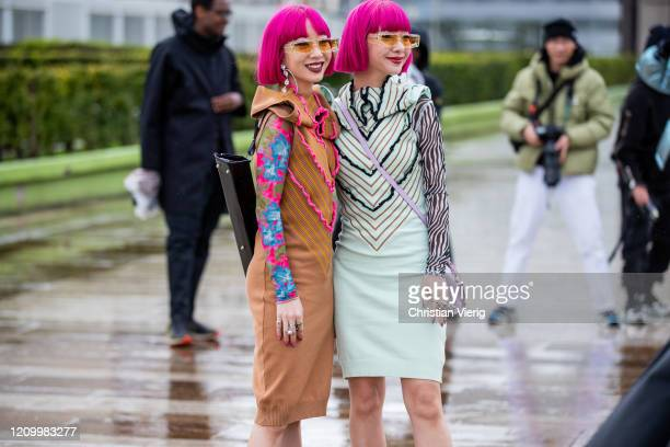 Twins Ami Amiaya and Aya Amiaya seen outside Y/Project during Paris Fashion Week - Womenswear Fall/Winter 2020/2021 : Day Eight on March 02, 2020 in...