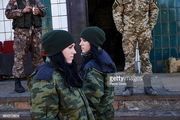 Twins Anya and Katya both 19 years and have been with the DPR army since October 2014 rest with other proRussian rebels on a base on the southern...