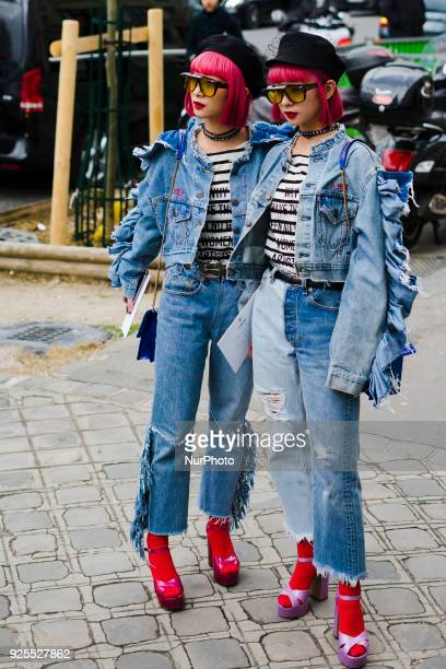 Twins Aya Amiaya Little Lola Sunshine and Ami Amiaya wear denim tailleur Dior blue bag and black hat in the streets of Paris before the Dior show...