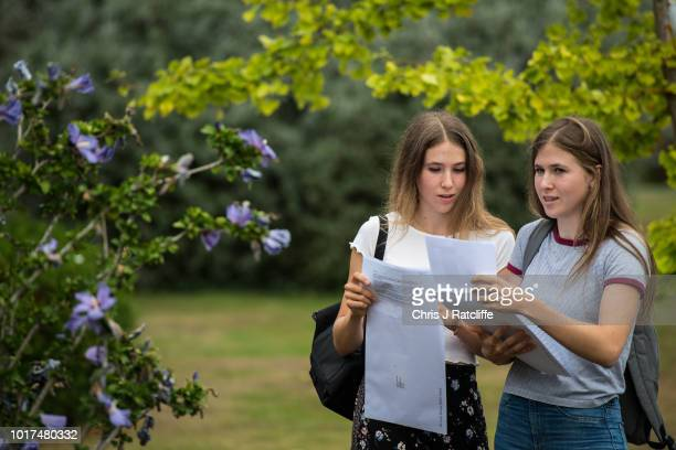 Twins Catherine and Gemma King who both obtained 5 A* open their A Level exam results at Lady Eleanor Holles school on August 16 2018 in Hampton...
