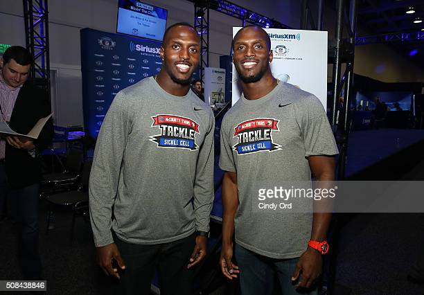 Twins Devin McCourty of the New England Patriots and Jason McCourty of the Tennessee Titans visit the SiriusXM set at Super Bowl 50 Radio Row at the...