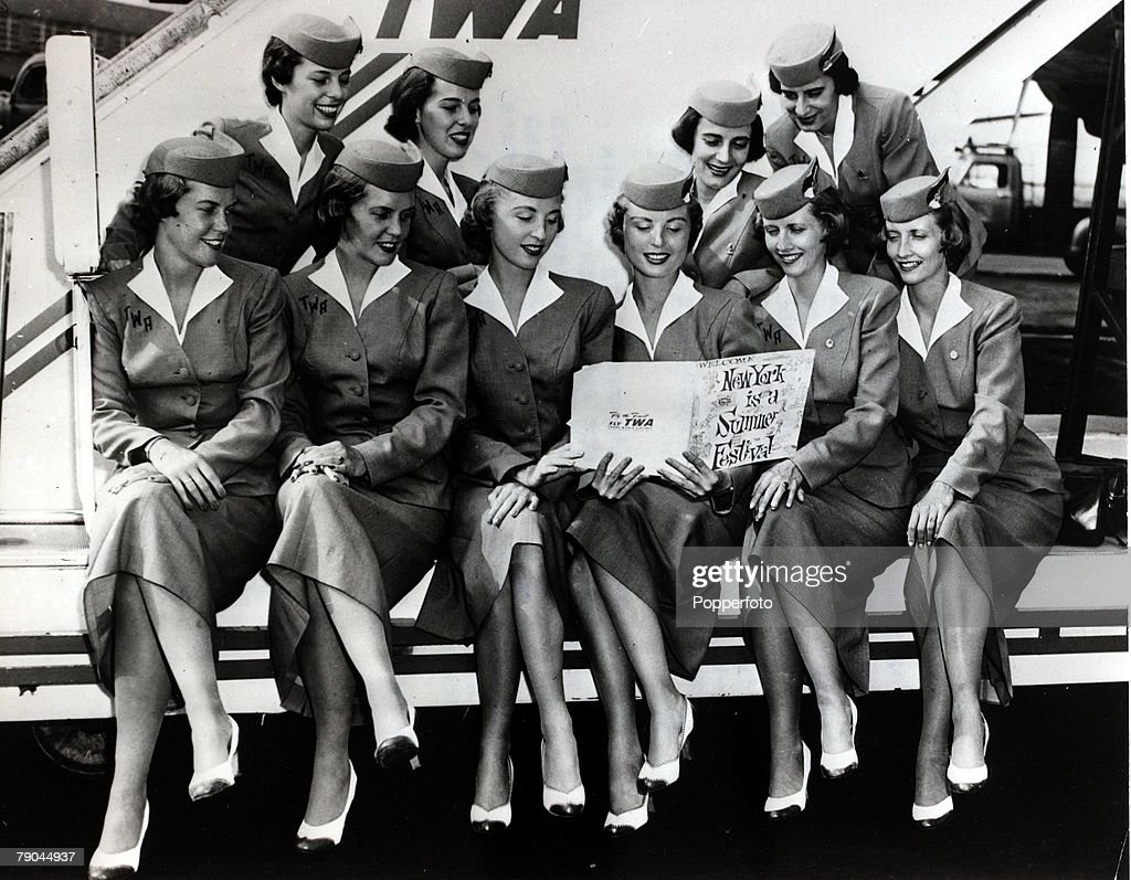 Twins. Five sets of twins all air hostesses working for American airline T.W.A. 6th August 1956. : News Photo