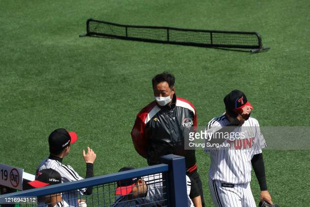 LG Twins general manager Cha Myeongseok talks with team players ahead of intrateam game which is played for fans at a empty Jamshil baseball stadium...