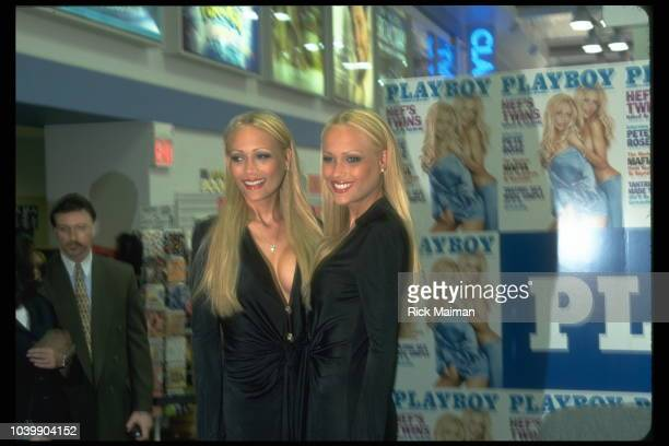 Twins Mandy and Sandy Bentley at a press conference in a Tower Records store in connection with their appearance in Playboy