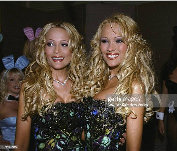 Twins Mandy and Sandy Bentley sport twin smiles at party thrown for them at Playboy magazine's New York headquarters The Bentleys adorn the cover of...