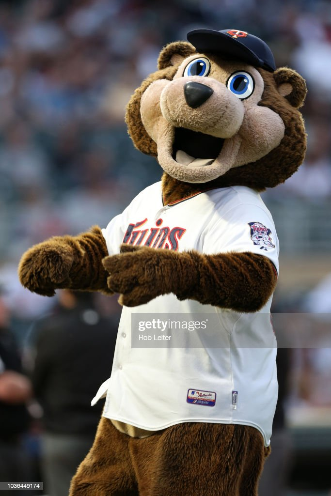 outlet store 45ec1 861d7 Twins mascot T.C Bear looks on before the game between the ...