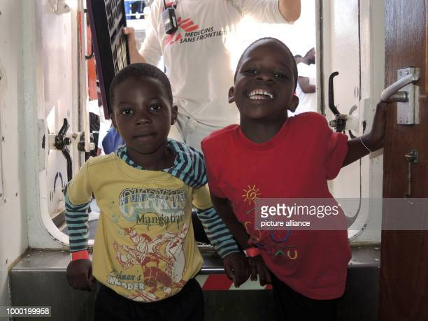 Twins Muhammed and Ahmed on board the Acquarius a boat belonging to the NGO Doctors Without Borders off the Italian coast 27 June 2017 Thousands of...