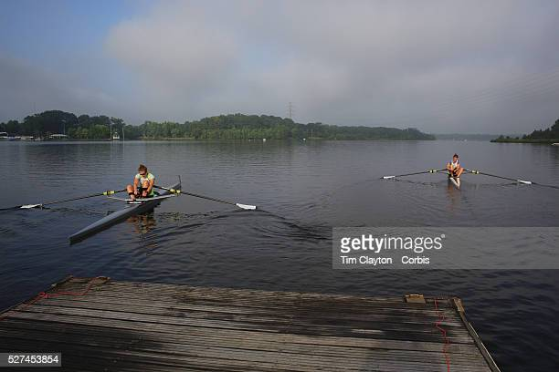 Twins Rebecca and Elizabeth Donald in action during the Women's doubles heats during the US Rowing National Championships at Mercer Lake Caspersen...