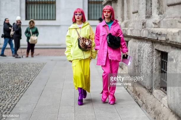 Twins with pink hair is seen outside MSGM during Milan Fashion Week Fall/Winter 2018/19 on February 25 2018 in Milan Italy