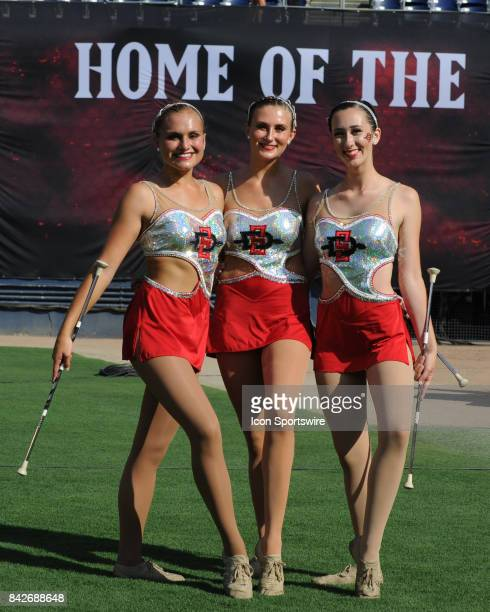 Twirlers during the college football game between UC Davis Aggies and San Diego State University Aztecs on September 02 2017 at Qualcomm Stadium in...