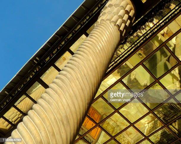 twisted marble column and mirror ceiling of silk road palace - vogel stock pictures, royalty-free photos & images