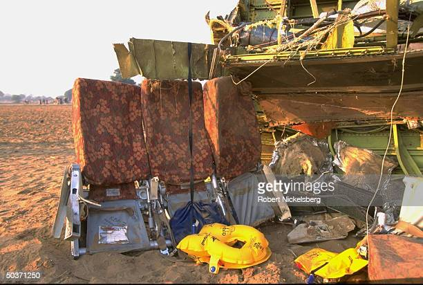 Twisted remains of seats amid wreckage day after Saudi Arabian Airlines Boeing 747 passenger jet & Kazakhstan KazAir Ilyushin-76 cargo planes...