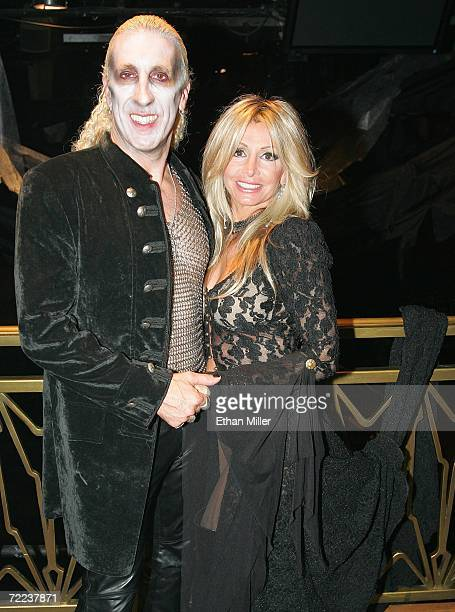 Twisted Sister singer Dee Snider and his wife Suzette pose backstage after their wedding vow renewal ceremony following a performance of Dee Snider's...