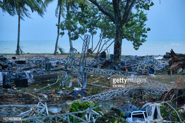 Twisted steel girders are all that's left of a music stage after a tsunami at a resort hotel on December 23 2018 in Tanjung Lesung Indonesia Over 220...
