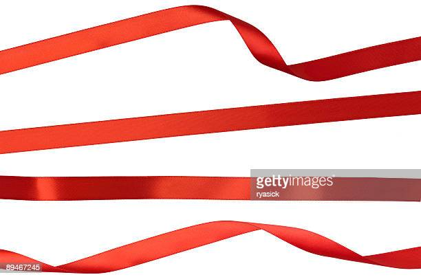 twisted straight and curled red isolated ribbon strips on white - ribbon stock pictures, royalty-free photos & images