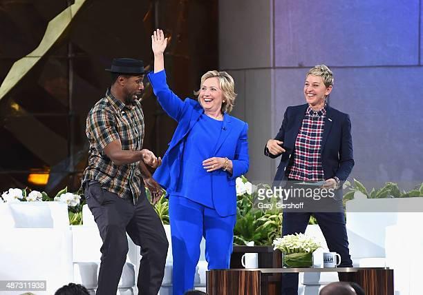 DJ tWitch Hillary Clinton and Ellen DeGeneres seen during a taping of The Ellen DeGeneres Show Season 13 BiCoastal Premiere at Rockefeller Center on...