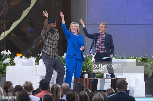 DJ tWitch Hillary Rodham Clinton and Ellen Degeneres attend the Ellen Degeneres Show Season 13 at Rockfeller Center in New York City �� LAN