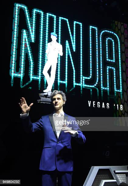 Twitch streamer and professional gamer Tyler Ninja Blevins is introduced during Ninja Vegas '18 at Esports Arena Las Vegas at Luxor Hotel and Casino...