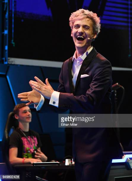 Twitch streamer and professional gamer Tyler 'Ninja' Blevins laughs as he is introduced during Ninja Vegas '18 at Esports Arena Las Vegas at Luxor...