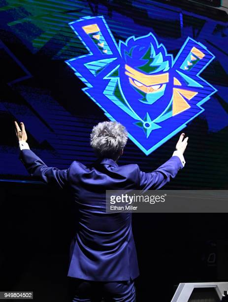 Twitch streamer and professional gamer Tyler 'Ninja' Blevins reacts as his logo is displayed while he is introduced during Ninja Vegas '18 at Esports...