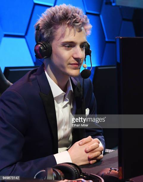 Twitch streamer and professional gamer Tyler 'Ninja' Blevins streams during Ninja Vegas '18 at Esports Arena Las Vegas at Luxor Hotel and Casino on...