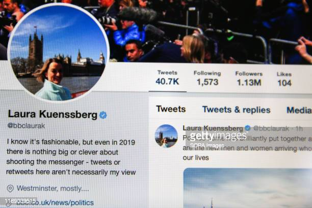 Twitter account of Laura Kuenssberg journalist and political editor of BBC News