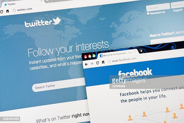 twitter and facebook home pages on laptop screen - video still stock photos and pictures