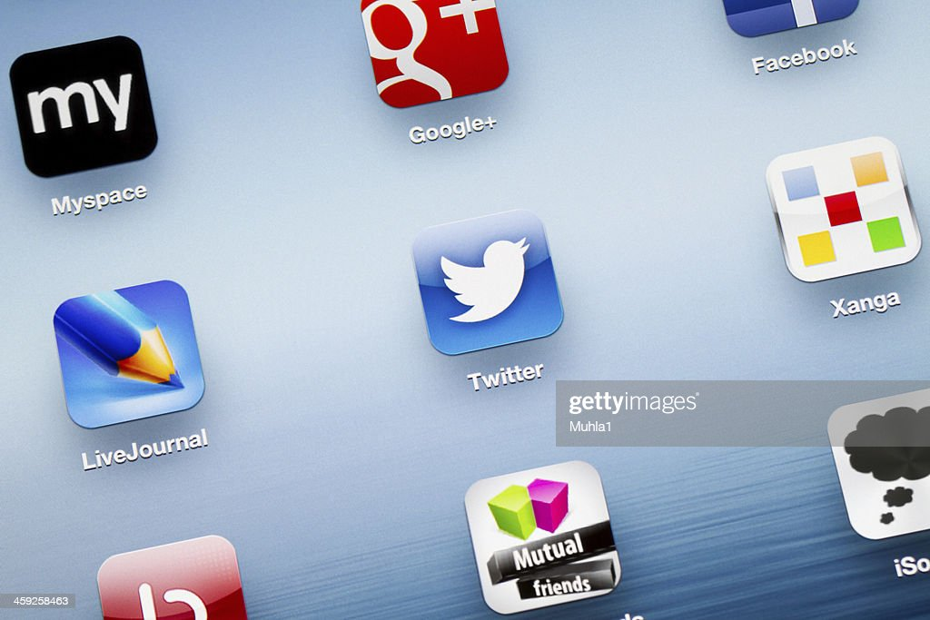 Twitter App icon on New iPad : Stock Photo