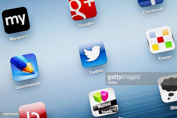 twitter app icon on new ipad - event icon set stock photos and pictures