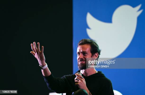 Twitter CEO and cofounder Jack Dorsey gestures while interacting with students at the Indian Institute of Technology in New Delhi on November 12 2018...