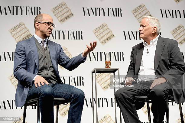 """Twitter CEO Dick Costolo and Aspen Institute President and CEO Walter Isaacson speak onstage during """"Social Goes Global"""" at the Vanity Fair New..."""