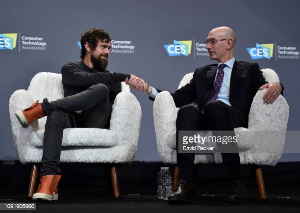 Twitter CEO Jack Dorsey and NBA Commissioner Adam Silver shake hands after speaking at a press event at CES 2019 at the Aria Resort Casino on January...