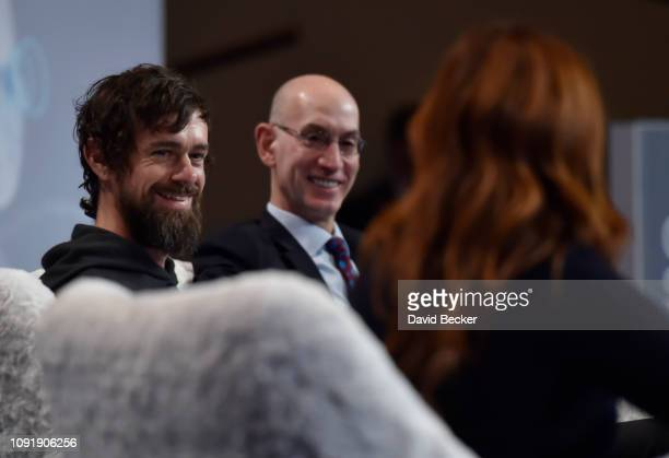 Twitter CEO Jack Dorsey NBA Commissioner Adam Silver and ESPN television host/moderator Rachel Nichols participate in a press event at CES 2019 at...