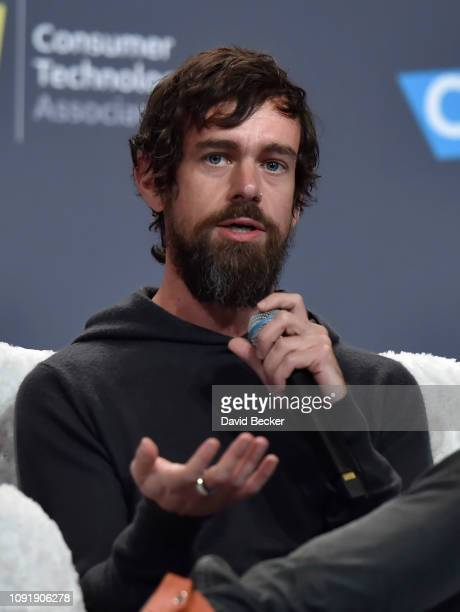Twitter CEO Jack Dorsey speaks during a press event at CES 2019 at the Aria Resort Casino on January 9 2019 in Las Vegas Nevada CES the world's...