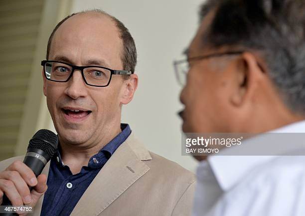 Twitter chief executive officer Dick Costolo and Indonesia's Vice President Jusuf Kalla answer questions from journalists after a meeting in Jakarta...