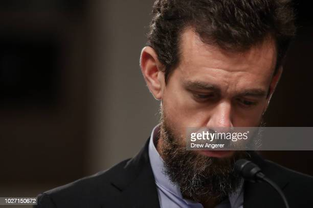 Twitter chief executive officer Jack Dorsey looks on during a Senate Intelligence Committee hearing concerning foreign influence operations' use of...
