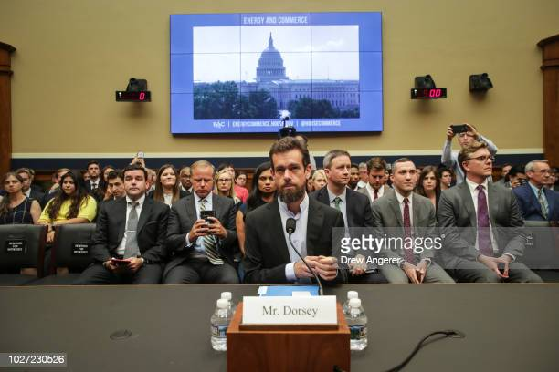 Twitter chief executive officer Jack Dorsey takes his seat as he arrives for a House Committee on Energy and Commerce hearing about Twitter's...