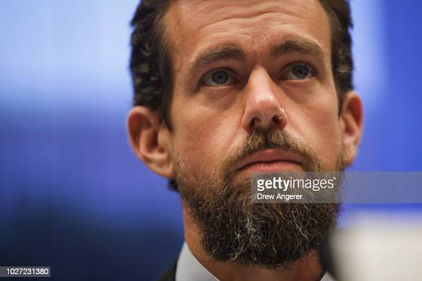 Twitter chief executive officer Jack Dorsey testifies during a House Committee on Energy and Commerce hearing about Twitter's transparency and...