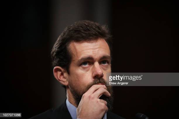 Twitter chief executive officer Jack Dorsey testifies during a Senate Intelligence Committee hearing concerning foreign influence operations' use of...