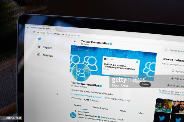 Twitter Communities group page on a laptop computer arranged in the Brooklyn borough of New York, U.S., on Saturday, Sept. 11, 2021. Twitter Inc. Is...