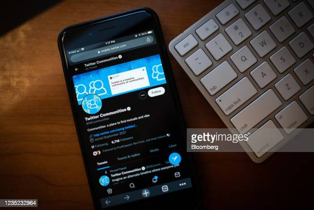 Twitter Communities group page on a smarttphone arranged in the Brooklyn borough of New York, U.S., on Saturday, Sept. 11, 2021. Twitter Inc. Is...