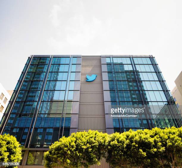 twitter headquarters building in san francisco with  sign on windows - headquarters stock pictures, royalty-free photos & images