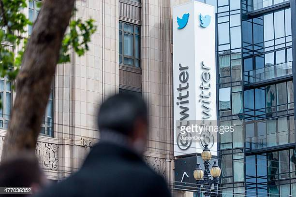 twitter headquarters on market street in san francisco - headquarters stock pictures, royalty-free photos & images