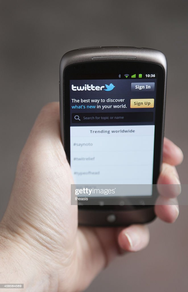 Twitter on an Android Phone : Stock Photo