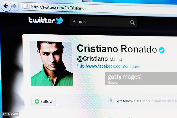 twitter profile page of cristiano ronaldo on rgb laptop monitor - ronaldo nazario soccer player stock pictures, royalty-free photos & images